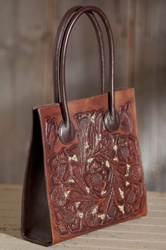 Hand-Tooled Inlay Leather Tote Bag   Overland Sheepskin
