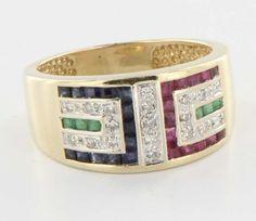 Vintage 14 Karat Yellow Gold Diamond Sapphire Ruby Emerald Unisex Cigar Band 8 $395