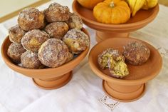 Fall DIY + nut-free eats: Flower pot cake stands topped with pumpkin doughnut muffins. A collaborative post with Calm Cradle Photo & Design and Sweet Tarte.
