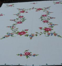 Stunning Vintage Hand Embroidered Counted Cross Stitch Tablecloth Roses 64 X 48
