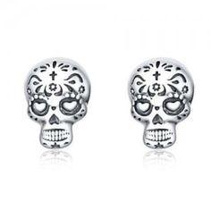 Types Of Earrings, Women's Earrings, Silver Earrings, Sugar Skull Earrings, Wholesale Silver Jewelry, Halloween Jewelry, Skull Design, Fashion Jewelry, Sterling Silver