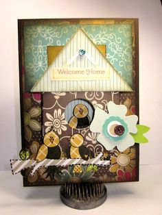 Birdhouse card by Gini Williams Cagle - American Crafts Paper; Market Street Stamps