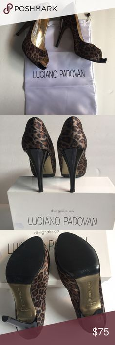 LUCIANO PADOVAN Jaguar silk peep toe HEELS👠 Worn LUCIANO PADOVAN heels. European Size 39. Real patent leather 4 1/2 inch heels. Platform little less then an inch.Professional shoe cobbler put on black rubber soles.Inside gold metallic. Some rubbed off from wearing👈View all photos.Great staple in any girls closet.No trades🚫returns or exchanges. Ask questions. My respond time is great! Turning over new leaf in2017🎉 Do be shy to buy. Reminder ALL my items are 100 %Authentic the ones that…
