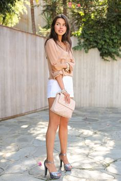 VIVALUXURY - FASHION BLOG BY ANNABELLE FLEUR: CREME BRULEE Heels: via Pink & Pepper | Shorts: Asos | Blouse: Haute Hippie { similar here & here } | Bag: Marc Jacobs { also loving this one } | Jewelry: bracelet via Ily Couture, spike stretch bracelet Cara, watch Michael Kors October 8, 2012