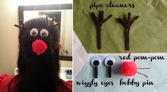 Rudolph the red-nosed reindeer hairdo how-to. #Rudolph #hair #hairdo #tutorial #DIY #Christmas