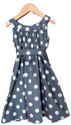 Rose Dress, Charcoal Dots, Cotton Sateen