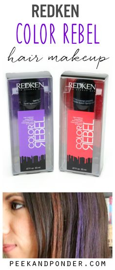 Redken Color Rebel hair makeup is temporary color for your hair. It works on dark hair too! Be a rocker for the night or spice up your boring hair! Temporary Hair Color, Permanent Hair Color, Dark Hair With Highlights, Colored Highlights, Scarf Hairstyles, Cool Hairstyles, Wash Out Hair Color, Redken Hair Products, Hair A