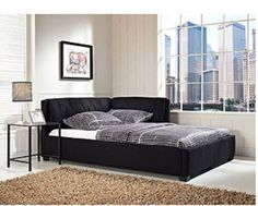 full size modern black daybed lounge reversible sofa bed frame couch dorm room