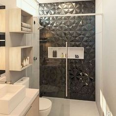 Black Tile Bathrooms, Modern Bathroom, Small Bathroom, Home Building Design, House Design, Bathroom Feature Wall Tile, Bathroom Design Luxury, Bathroom Inspiration, Home Decor