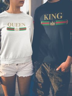 King Queen Sweatshirts, Family Matching Clothing, Unique gifts for Couples Sweatshirt, King and Queen Fall Couple clothing Crew Neck Cute Couple Shirts, Couple Tees, Matching Couple Outfits, Matching Couples, Couple Clothes, King And Queen Sweatshirts, Kings & Queens, Vintage Design, King Queen