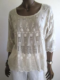 JOHNNY WAS 4 Love and Liberty $214 EUC Sheer Eyelet Tunic Top - S 6 8 ButtonBack #4LoveandLibertybyJohnnyWas #EyeletTunicTop