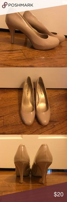 Shiny Nude-Colored Madden Girl Heels These shiny nude-colored Madden Girl 3 inch heels match perfectly with any outfit! They are size 8. They have a few scuffs on the backs of the heels as documented in the last picture. Madden Girl Shoes Heels