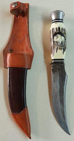 Vintage German Eye Brand Carl Schlieper Jim Bowie Buffalo Skinner Knife & Sheath in Factory Manufactured | eBay
