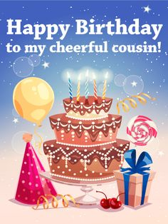 55 best birthday cards for cousin images on pinterest anniversary happy birthday vector illustration by macrovector happy birthday greeting card with big cake candles gift box tied by ribbon air balloon and clowns hat flat m4hsunfo