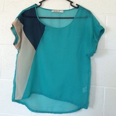 ‼️💢LAST CHANCE! Donating tomorrow if unsold💢‼️ ⚡️Regular price - $16⚡️💥This item was chosen by @arhuddleston as a Host Pick for the Best of Summer Party on 8/8💥This listing is for a super cute sheer color-block top by Chloe K (from Nordstrom) in size XS. Fun shades of teal, navy & tan make this top pop! Great condition; no stains or holes! 🚫No trades or PayPal🚫 Chloe K Tops Tees - Short Sleeve