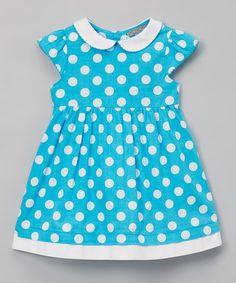 Aqua Polka Dot Peter Pan Collar Dress - Infant & Toddler