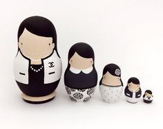 Chanel Black and White Russian Dolls by ThenComesColor on Etsy