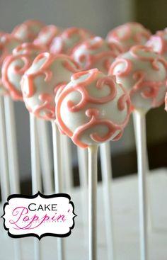 Pink shabby chic cake pops www.facebook.com/cakepoppin