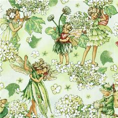 Michael Miller fabric Morning Fairy Garden flower fairy  cute green fabric with flower fairies and white flowers from the USA