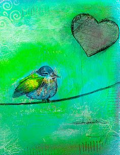 Bird on canvas with acrylic paint and inktense color pencils from my new blog