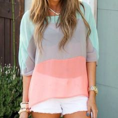 Love this outfit and the colors in her shirt!