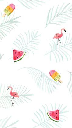 Flamingo watermelon icecream fern tropical wallpaper