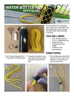 Learn how to make a bottle carrier out of paracord in this picture tutorial. No more accidentally leaving your water bottle behind! Works well with Hydroflask and other popular water bottle brands. Water Bottle Carrier, Water Bottle Holders, Bottle Bag, Paracord Tutorial, 550 Paracord, Paracord Knife, Paracord Braids, Parachute Cord Crafts, Paracord Projects