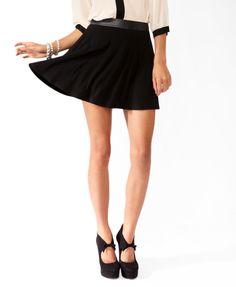 Coated Waist Skater Skirt | FOREVER21 - 2025889249