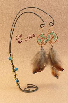 Boucles d'Oreilles #Arbredevie Cuivre #wirewrapping #1fil2perles