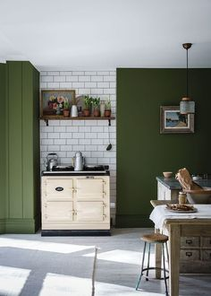 A darker version of the archived color Olive, Bancha's sober tone channels serenity while evoking mid-century modern. Farrow Ball, Kitchen Colors, Kitchen Decor, Kitchen Ideas, Diy Kitchen, Kitchen Size, Kitchen Seating, Smart Kitchen, Kitchen Nook