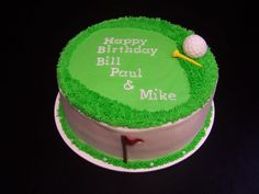 This cute golf-theme cake was a white cake with buttercream frosting.