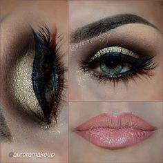 Golden Glitter Eyes and Pink Lips by auroramakeup using Motives My Beauty Weapon.   #Beauty #Weapon #Gold
