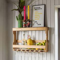 Wall Bottle Rack  // Graham & Green#tropicana #tropical #tropicalhome #tropicalinteriors #pineapple #cactus #neon #flamingo #bright #bold #colourful #pink #green #ikat #home #homedecor #homeinteriors #interiors #interiordesign #summer #summerhome #summergarden #tropicalsummer