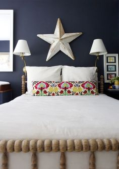 Bed and sconces