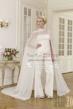 3be9bd4cdc6 Elegant wedding pant suit lace dress with chiffon cloak wps-030