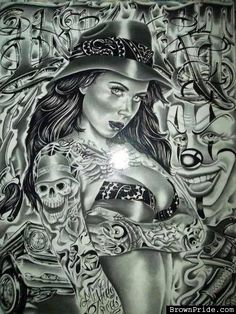 I want her hat. Chicano Art Tattoos, Chicano Drawings, Gangsta Tattoos, Arte Cholo, Cholo Art, Payasa Tattoo, Tattoo Fonts, Chicano Love, Cholo Style
