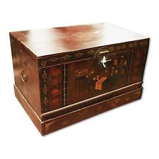 """40"""" Kelli Painted Chest Trunk Box Solid Wood Vintage Hand Made 82"""