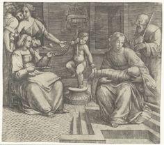Giacomo Francia   Heilige Familie met Elisabeth en Johannes de Doper, Giacomo Francia, 1490 - 1557   Heilige Familie met Elisabeth zittend op stoel terwijl zij wol spint en de jonge Johannes de Doper staand met spoel voor gesponnen wol.