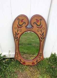 Hand Painted Dutch ~ FOLK ART~ wood mirror ~ Tulip `~ Heart | eBay