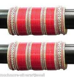 BC-06 Indian Bridal Red CZ Bridal Choora/Chura Bangle Set Indian Dulhan Jewelry in Indian   eBay