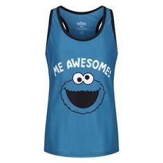 Cookie Monster 'Me Awesome' Kids Racerback Vest Kids Vest, Slogan Tops, The School Run, Sports Vest, Line Design, Cookie Monster, Boys, Girls, Boy Or Girl