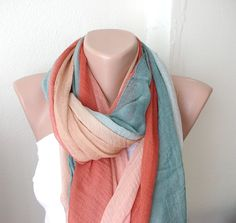 Hand Dyed brick red, rust tones Long Scarf, Pareo, Shawl with wrinkle $25.00