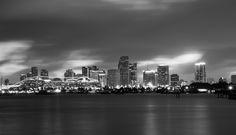 Miami Skyline, New York Skyline, Ocean Drive, South Florida, Black And White, Travel, Black White, Viajes, Black N White