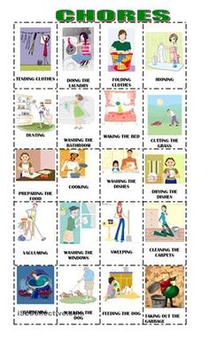 Chores in the house - ESL worksheets