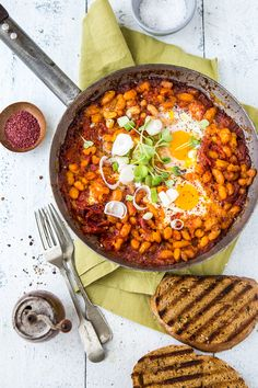 Harissa Spiced Beans With Eggs