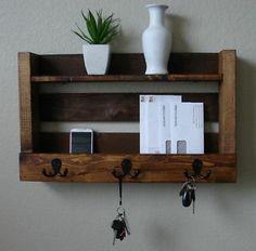 Rustic Entryway Hall 3 Hanger Hook Coat Rack w/ Shelf + Mail Phone Key Organizer