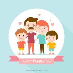 Dia família feliz fundo design plano