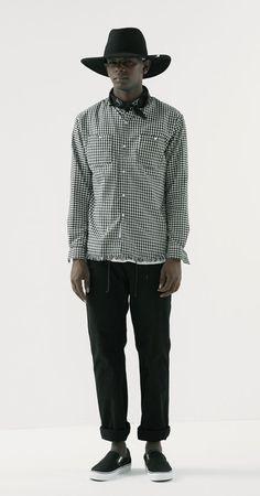 러프한 마무리감의 독특한 스타일의 체크셔츠 SEW CLASSIC CUTAIL EDGE STAND COLLAR SH_BLACK