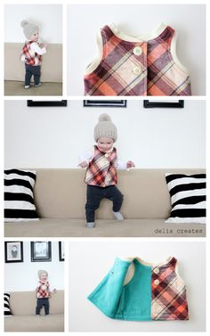adorable girly plaid flip vest // delia creates (pattern by MADE)