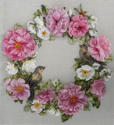 .flower wreath with bird